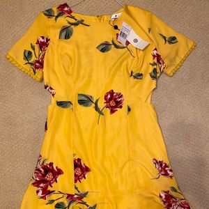 Yellow dress with beautiful cut outs-BRAND NEW